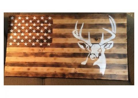 """Wood American Flag w/ deer 37"""" X 19.5"""""""